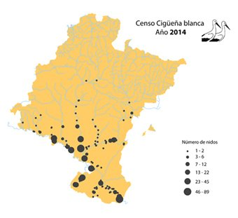 Distribución de la cigüeña blanca en Navarra
